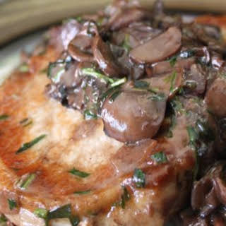 Pan Rushed Pork Chops with Tarragon Mushrooms.