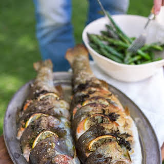 Grilled Whole Trout Stuffed With Lemon, Fennel & Herbs.