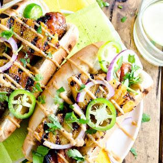 Hawaiian Hot Dogs with Grilled Pineapple and Teriyaki Mayo.