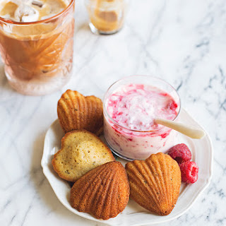Brown Butter Madeleines with Smashed Raspberry Créme Fraîche.