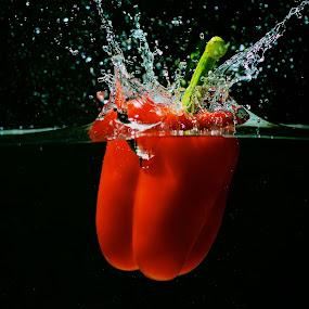Bell Pepper Splash by Samson Calma - Food & Drink Fruits & Vegetables ( water, splash, pepper, bell pepper, water splash )