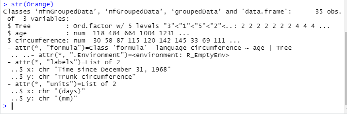 This image shows how to check out the structure of a data set.