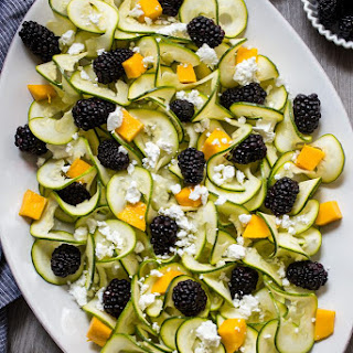 Zucchini Noodle, Blackberry and Mango Salad with Vanilla Bean Vinaigrette.