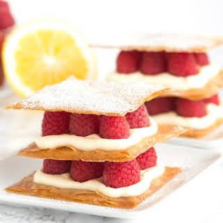 Lemon Cream and Raspberry Phyllo Napoleons.
