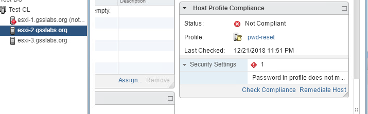 Host Profile is not compliant with password difference