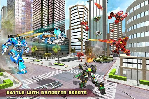 US Police Transform Robot Car White Tiger Game 1.2 screenshots 11