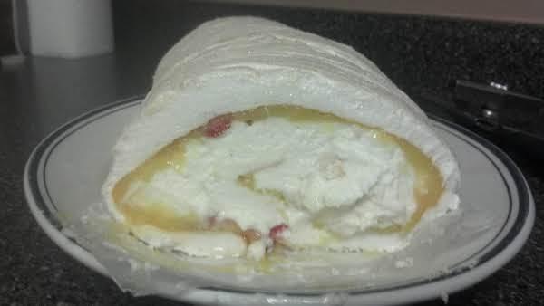 Strawberry Lemon Meringue Roulade, Sliced