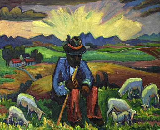 Maggie Laubser's Shepherd Seated with his Flock. Picture: STRAUSS & CO
