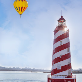 Lake Havasu Lookout by Angel McNall - Buildings & Architecture Public & Historical ( hot air balloon, lighthouse, arizona, sunburst, lake havasu, red and white,  )