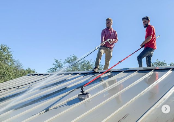 cleaning a metal panel roof
