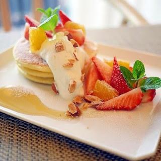 Soy Milk Pancakes with Seasonal Fruits
