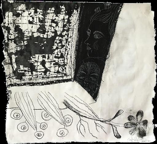 maison meteorite noir et blanc peinture sur papier magazine sophie lormeau artiste contemporain adagp 2020 paris