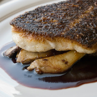 Crispy Chinese Spiced Black Bass with Porcini Mushrooms and Port Wine Reduction Recipe