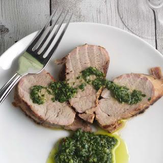 Grilled Pork Tenderloin with Cilantro Pesto.