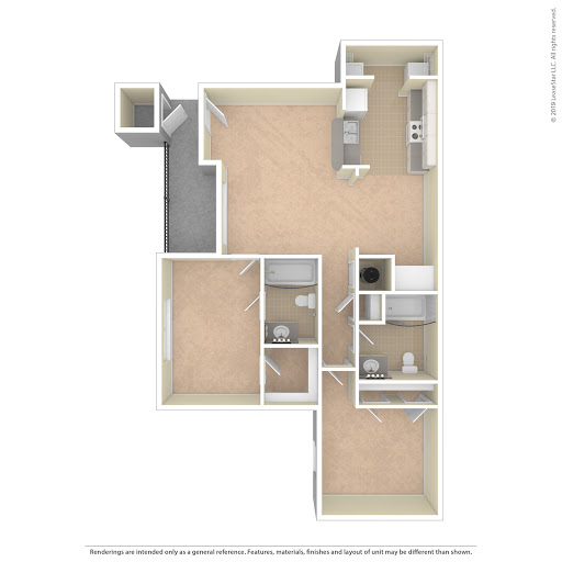 Highland Pointe Apartments: Two Bedroom Floorplan (2 Bed, 2 Bath)