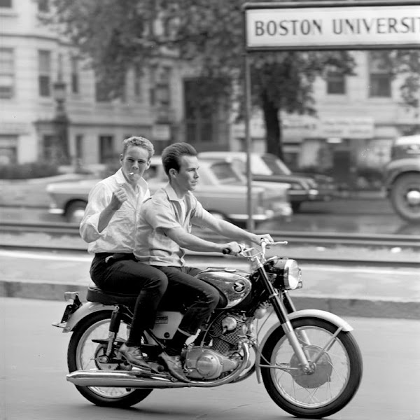 Photo: On July 24, 1966, two cool guys on a bike gave Comm Ave the look of a French new wave film.