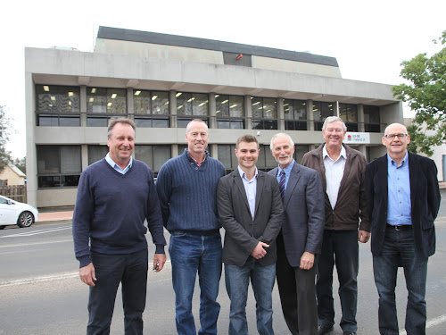 From left, Member for Barwon Kevin Humphries, with new Narrabri EPA compliance officers Simon Taylor and Nicholas Payne, EPA executive officer Barry Buffier, the mayor Cr Conrad Bolton and chief regulator Mark Gifford.