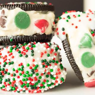 Cookie Dough Stuffed White Chocolate Christmas Oreos.