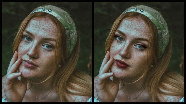 Montagem com 2 fotos da mesma mulher mostrando o antes e depois da edição da maquiagem Sugarplum do AirBrush