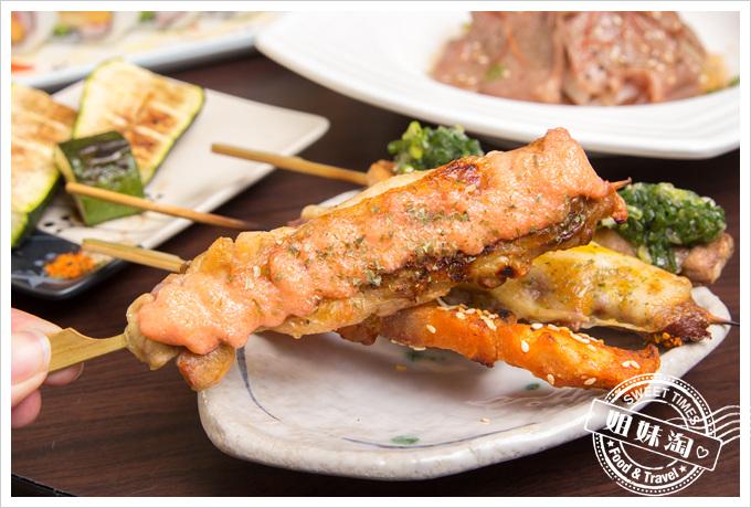 大麥町日式碳烤熱炒活海鮮明太子雞肉串