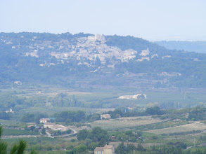 Photo: Looking over to our next stop, the nearby hillside village of Lacoste.