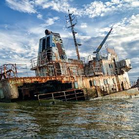 Shipwreck by Panait Sorin - Transportation Boats ( wreck, shipwreck, navigation, navy, water )