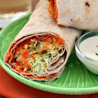 Spicy Lentil Wraps with Tahini Sauce.