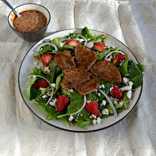 Balsamic Pork Salad with Strawberries and Goat Cheese.