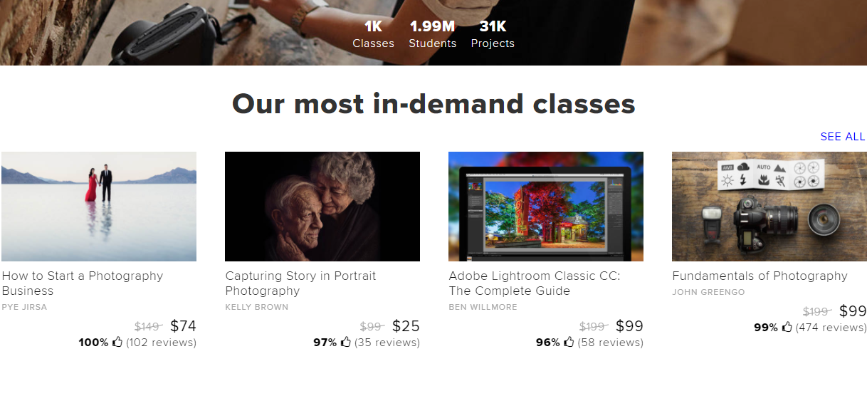 CreativeLive in-demand classes