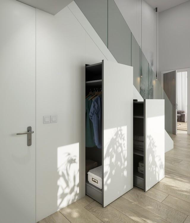 Dekton Slim, color Zenith en panelado de armarios.