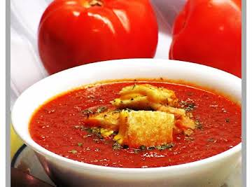 Tomato-Basil Soup with Grilled Cheese Croutons