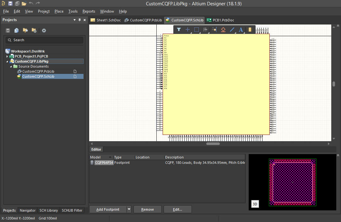 Screenshot of a custom schematic symbol Altium  Schaltplansymbol für das CustomCQFP-Bauteil