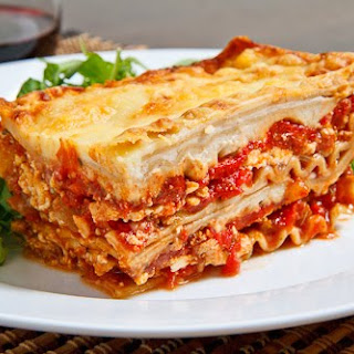 Chicken, Roasted Red Pepper and Goat Cheese Lasagna.