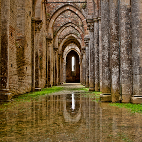 S.Galgano (Tuscany, Italy) by Gianluca Presto - Buildings & Architecture Decaying & Abandoned ( nobody, reflection, water reflection, old, tuscany, architechture, gothic, arch, reflections, architecture, historic, story, ancient, italia, italy, abbey, water, toscana, church, architectural detail, quiet, legend, arches, peace, silence, cathedral, historical, medieval, abandoned, decay,  )