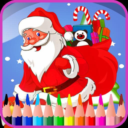 Xmax coloring  santa reindeers