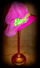 Photo: <KAPELUXE> Unique-Chique Hats by Luba Bilash ART & ADORNMENT  Fuchsia wool felt cloche; lemon-lime grosgrain ribbon/bow; netting 360 degree possibilities. Can also be worn on an angle. Size L - 56 cm/22 in $60 SOLD