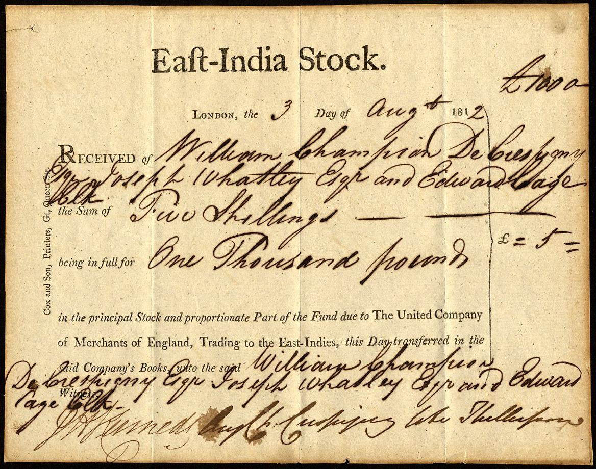 Share Certificate of Dutch East India Company