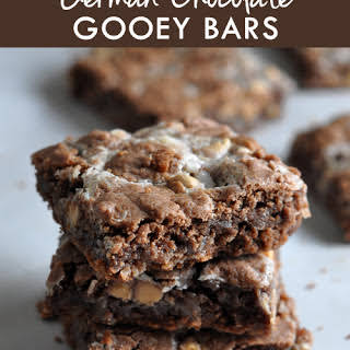 German Chocolate Butterscotch Gooey Bars.