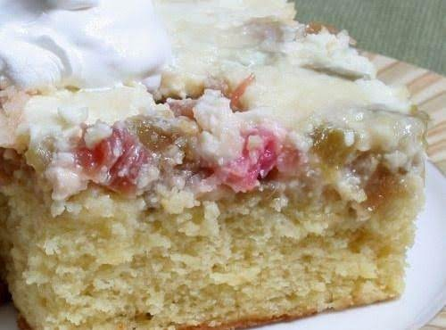 Rhubarb Custard Upside - Down Cake Recipe
