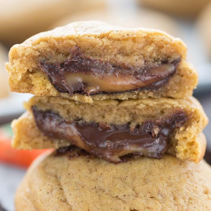 Caramel Stuffed Pumpkin Cookies Recipe