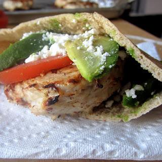 Turkey Burger Pitas with Avocado & Feta.