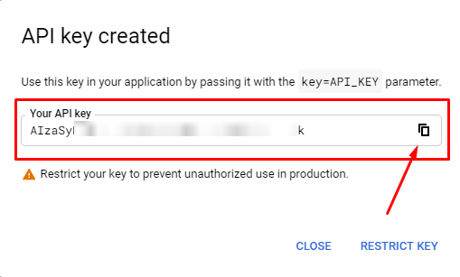 API Key YouTube configuration