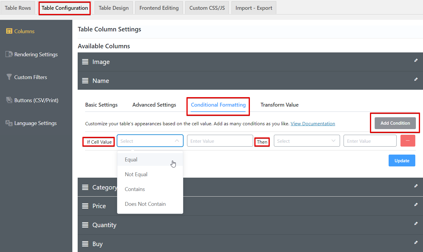 Ninja Tables conditional formatting for WooCommerce product table