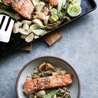 Sesame Sheet Pan Salmon with Roasted Bok Choy and Baby Turnips.