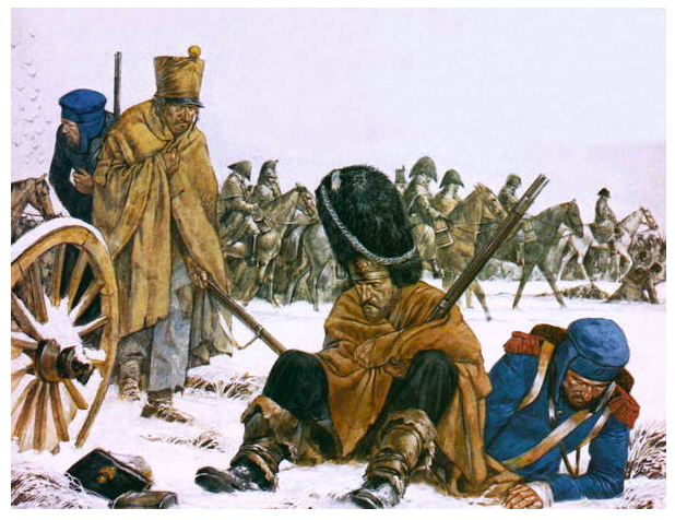 Image of Napoleon's retreat from Moscow, Soldiers lie on the floor defeated and injured, snow encompasses the sceneHook, Richard (b.1938) / Private Collection © Look and Learn / Bridgeman Images
