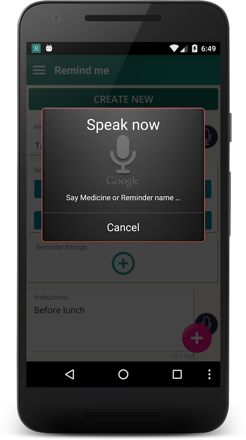 Medicine reminder lite- screenshot