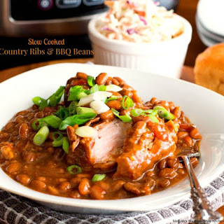 Easy Slow Cooked Country Ribs and Barbecue Beans.