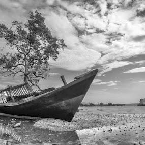 broken Ship by Benaya Agung - Transportation Boats ( sky, black and white, ship, ocean, beach, landscapes )