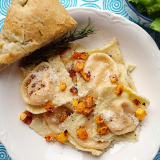 Roasted Butternut Squash Ravioli in Brown Butter Sauce