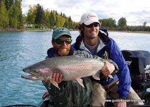 Photo: Jeremy Anderson of Alaska Drift Away Fishing with a gaint fall Kenai river rainbow trout.